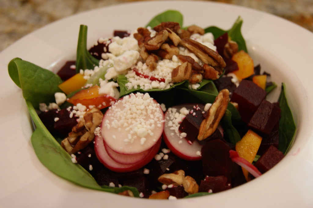 It's at this point I realized that I forgot to put the walnuts on the salad in the previous photos.