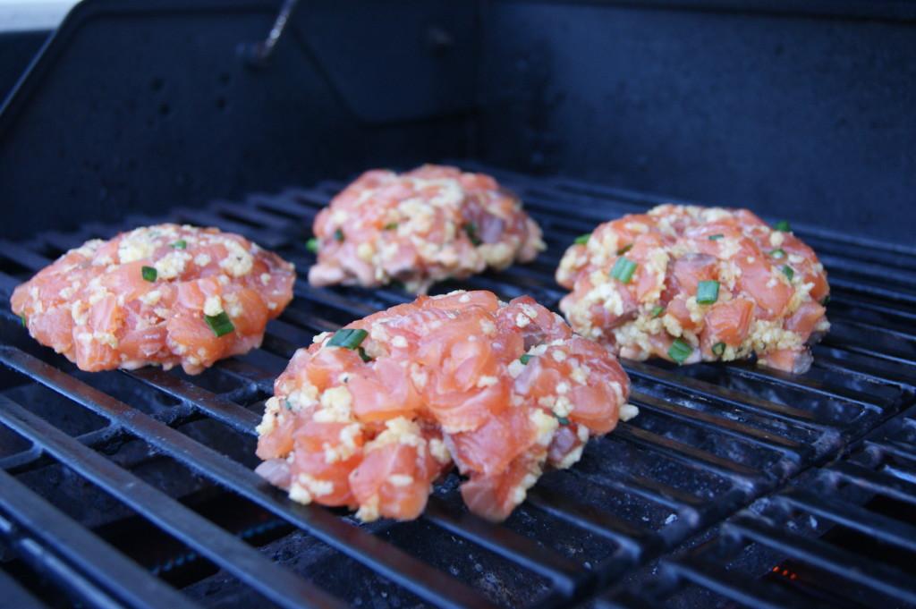 Salmon Burger Grilling...