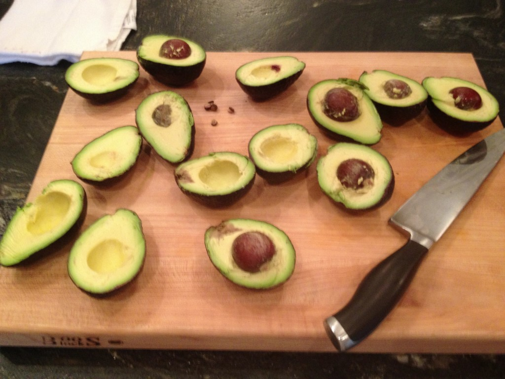 Prepping the avocados for the guacamole.