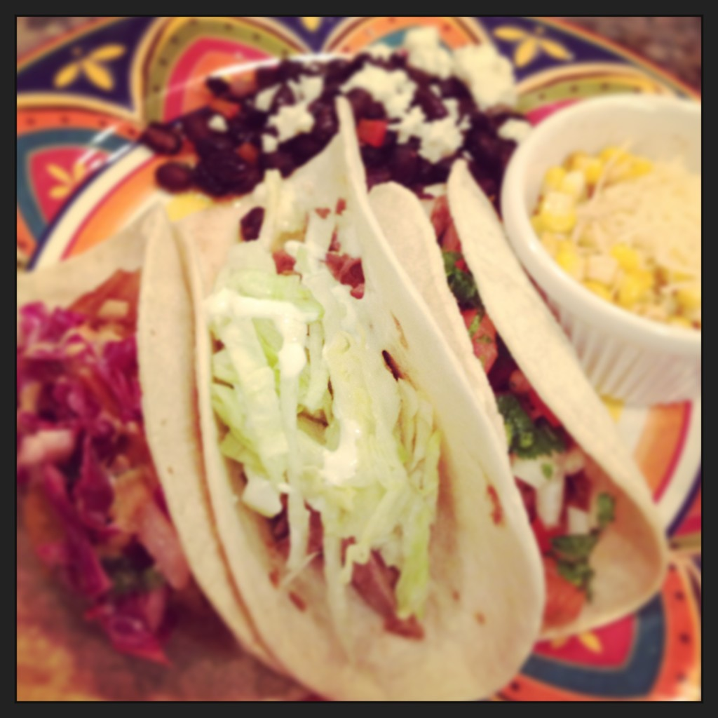 Tacos 3 Ways: Pork, Steak and Fish.  Street Car Corn and Fiesta Black Beans.