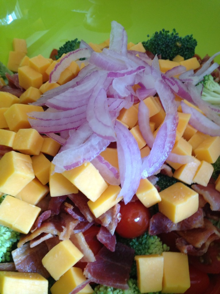 A lot of good, with just a little bit of bacon and cheese naughty-ness...my kind of salad.