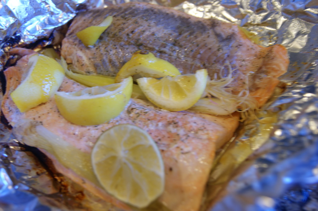 Sealing the salmon in a foil packet helps keep the fish super moist.