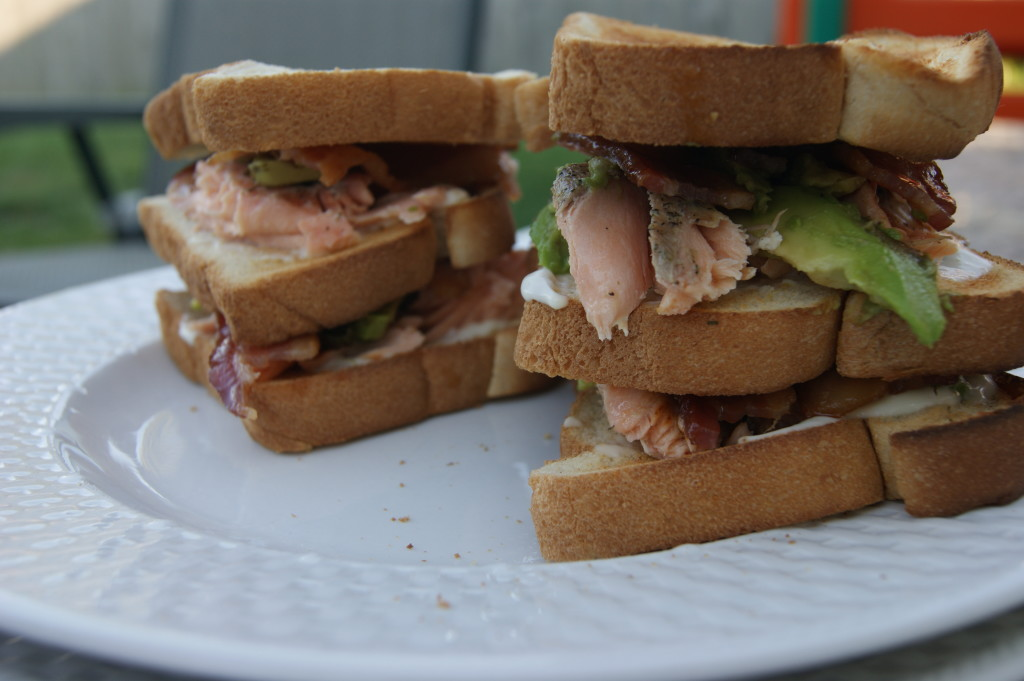 Grilled Salmon Club with Bacon, Avocado and Citrus Aioli