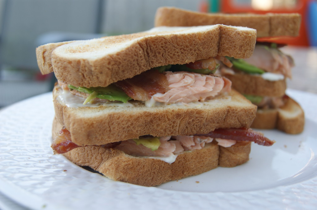 Salmon Club Sandwich with Citrus Aioli, Bacon and Avocado