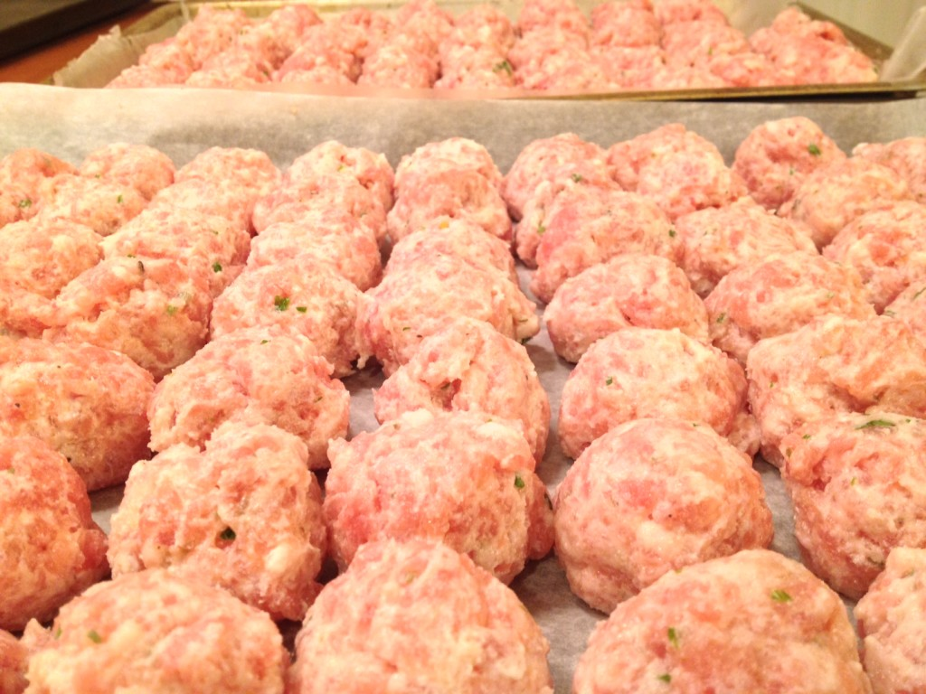 Pork and Ricotta Meatballs ready for breading..
