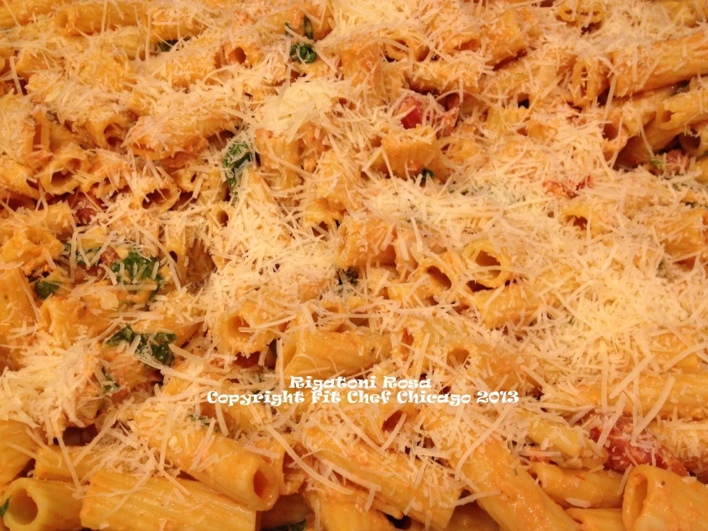 Creamy Rigatoni Rosa with Chicken, Spinach and Mushrooms