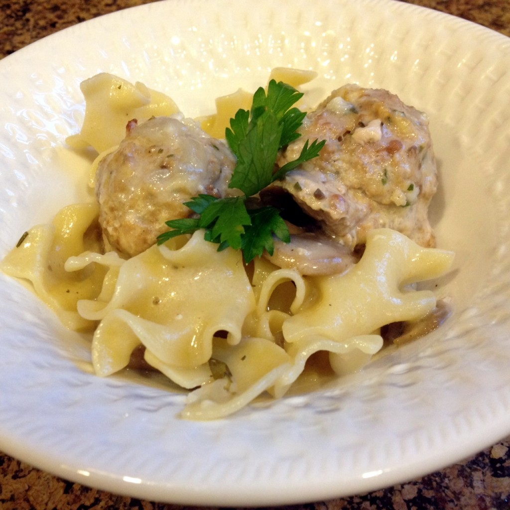 Creamy Egg Noodles with Turkey Meatballs