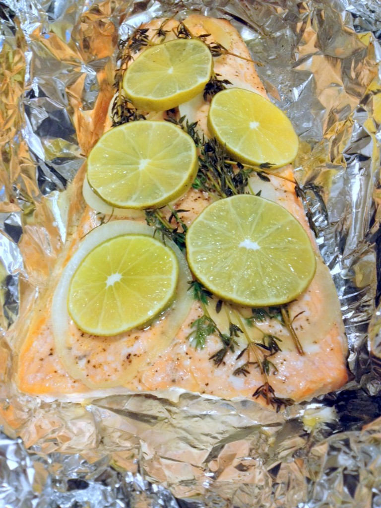 A short time later, your salmon is ready to eat.  Super fast, super healthy.