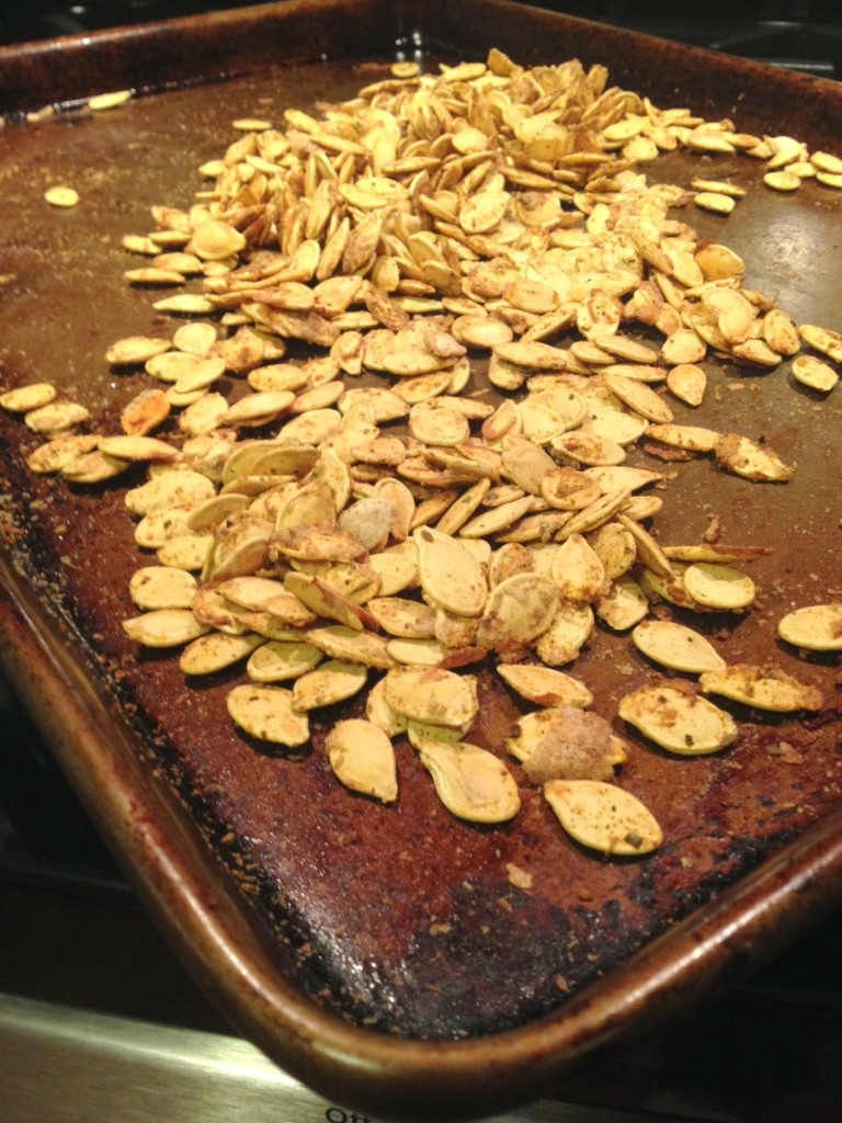 Roasted Pumpkin Seeds.  Toss them with some oil, add seasonings of your choice and roast, low n' slow.