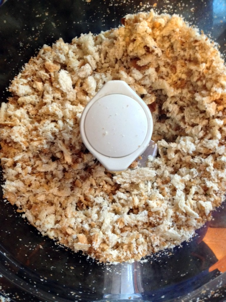 First step is making your own breadcrumbs.  Cheaper and better than what you can buy in the store and so simple.  Grab whatever bread you have and pulse in the food processor.  Done.