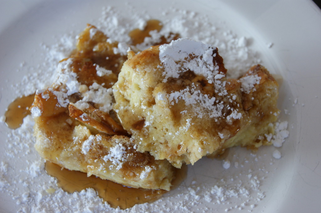 Topped with powdered sugar and maple syrup...