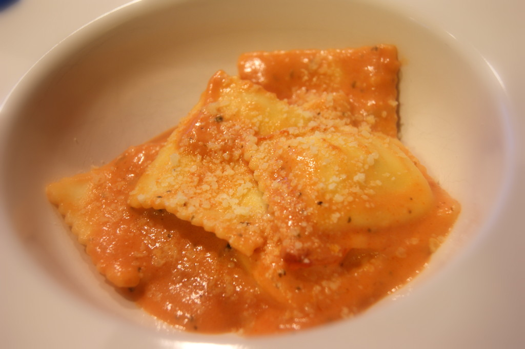 Ravioli with Parmesan Tomato Cream Sauce
