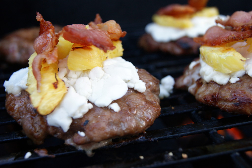 Bacon, Goat Cheese, Pineapple Turkey Burgers