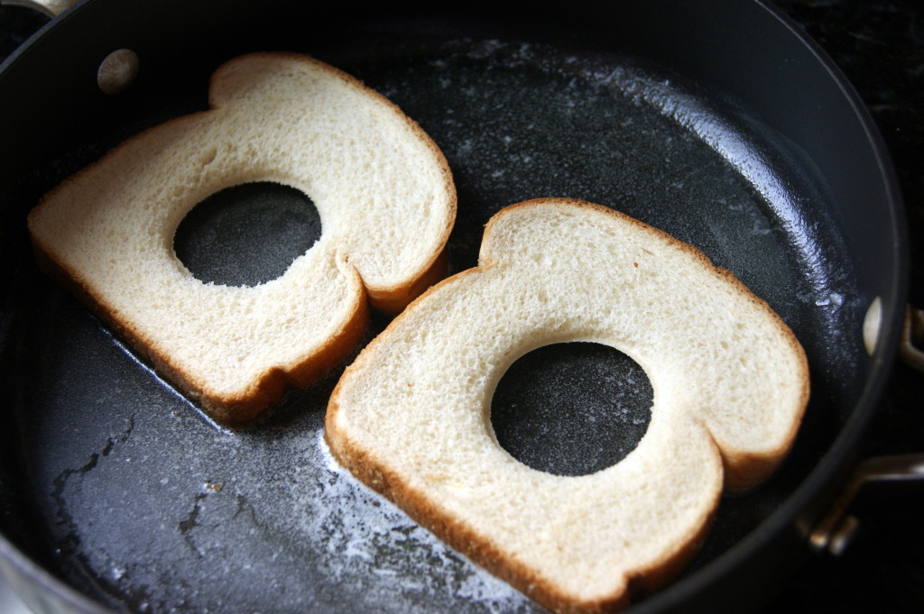 Add bread to a skillet filled with melted butter...