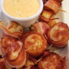 Bacon Wrapped Scallops with Spicy Cilantro Mayo